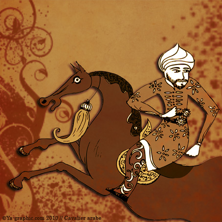Contenu web: illustration cavalier arabe sur cheval arabe