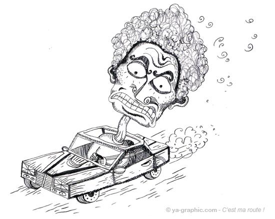 Dessin d'un automobiliste pas content du tout. Il roule à fond avec sa voiture, sur la route.