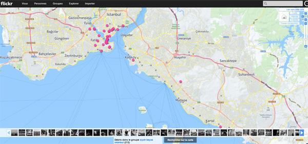 Groupes Flickr : les photos sur une carte géographique